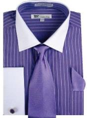 Stylish Classic French Cuff Striped Dress Shirt with Tie and cuff Purple White Collar Two Toned Contrast