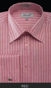 Fratello French Cuff Red Dress Shirt - Herringbone Tweed Stripe Big and Tall Sizes