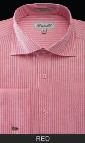 Spread Collar Mens French Cuff Dress Shirt - Classic Stripe Red