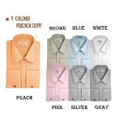 French Cuff Striped Dress Shirt In Varies Colors