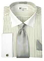White Collar Two Toned Contrast Mens French Cuff Grey stripes with Tie Dress Shirt