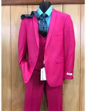 Mens Fuchsia Hot Pink Color 2 Buttons Suit Vested Slim Fit Suit