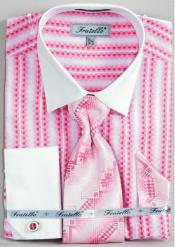 Pink Color Fratello Jacquard Two Tone French Cuff Set White Collar Two