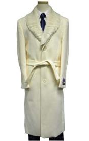Dress Coat Full Length Fur Collar White Wool and with Fur