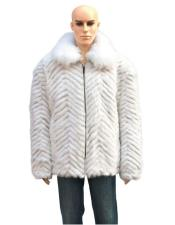 Handmade Fur White Mink Fox Collar Pull Up Zipper Jacket