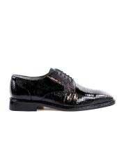 Genuine Skin Italian Mens Genuine Lizard Black Shoes