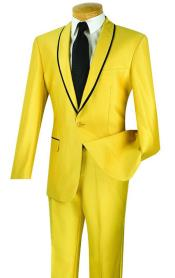 Two Toned yellow ~ Gold With Black Lapel suit (Tuxedo Looking