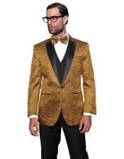 Confidence Bellagio Gold 3PC Suit Tuxedo With a Vest And Matching Bow Tie For Men