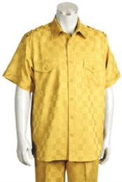 Yellow Short Sleeve 2 piece Casual Walking Suit