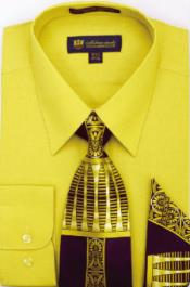 Moda Classic Cotton Ties and Handkerchiefs Gold Mens Dress Shirt