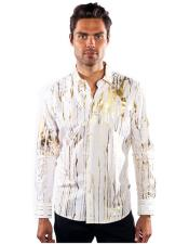 Mens Barabas Long Sleeve Button Down Gold Elements White Shirts Camisas