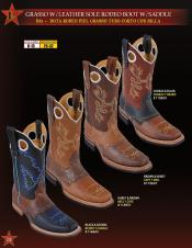 Los Altos Mens Grasso W/ Leather Sole & Saddle Rodeo Cowboy Western Boots 4 colors