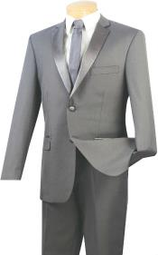 Slim Fit Tuxedo 2-Button Style Jacket Grey ~ Gray