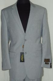 Mens Gray Classic Business Pinstripe Designer 2 Button Suit Gray