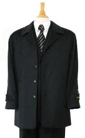 Luxurious high-quality Cashmere&Wool half-length notch lapel Mens Dress Coat Charcol Gray