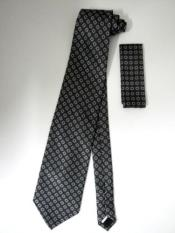 Tie Set Charcoal Gray Mini Ovals Design