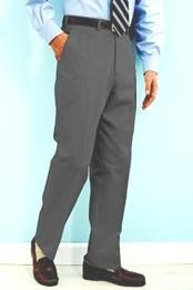 Gray premier quality italian fabric Flat Front Mens Wool Dress Pants