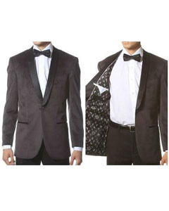 Velvet Shawl Collar Dinner Smoking Velour Jacket Notch Lapel Slim Fit Gray ~ Grey TuxedoDinner Jacket