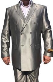 Nardoni Double Breasted Suits Shiny Sharkskin Flashy Silky Pleated Pants Tuxedo