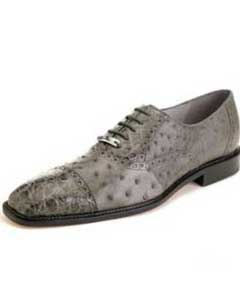 toe Lace UP Oxford Style Gray Ostrich & Crocodile Authentic Genuine