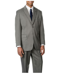 Mens Peak Lapel Bold Stripe Light Grey Stripe ~ Pinstripe 3-Piece Vested Suit