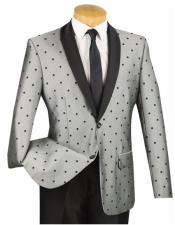 Mens 2 Button Slim Fit Polka Dot Shawl Lapel Gray  Fashion