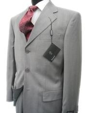 MEN SUIT~150S WOOL~LIGHT GRAY Shark Skin Three Buttons Style suit
