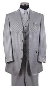 Zoot Suit tone on tone Shiny Sharkskin Shadow Stripe ~ Pinstripe Vested