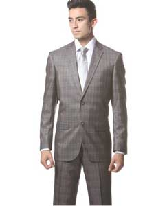 Gray Plaid Slim Fit