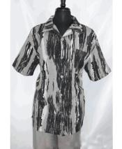 Mens 5 Buttons Short Sleeve Side Vents Gray Splash Print Shirt