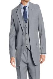 Stacy Adams Mens Suny Vested Gray 3 Piece Suit Pleated Pants