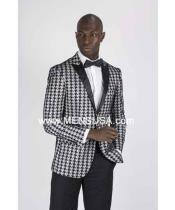 houndstooth checker Grey Tux ~ Gray Tuxedo Black Lapel Dogs Tooth Suit Wedding Groom