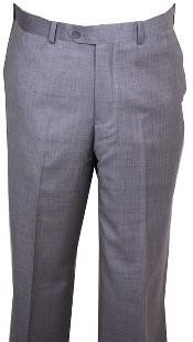 Mens Dress Pants Light Gray Wool without pleat flat front Pants