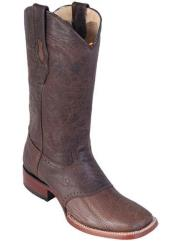 Greasy Brown Los Altos Boots Wide Square Toe Ostrich Leg W/