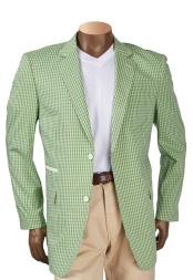 Mens Green Check Plaid Pattern Single Breasted 2 Button Notch Lapel Blazer