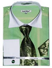 Mens Fancy Shirts White Collar Two Toned Contrast lime mint Green ~ Apple ~ Neon Bright Green (100%
