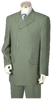 ~ Light Olive Green Double breasted Style Mens Suit Pleated Pants