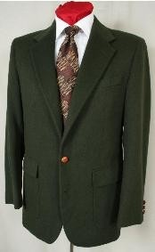~ Hunter Green Antique Brass Crest Buttons Cheap Unique Dress Blazer