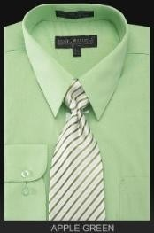 Mens Dress Shirt - PREMIUM TIE - lime mint Green ~