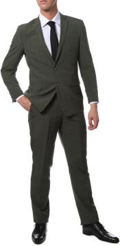 Mens Olive Green Glen Plaid Suit Extra Slim Fitted Pants