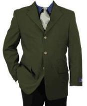 Army  ~ Hunter Olive Green Three buttons Notch Lapel Blazer Sport Coat Jacket With Brass Buttons