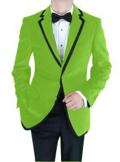 Velvet Velour Blazer Formal Tuxedo Jacket Sport Coat Two Tone Trimming Notch Collar lime mint Green ~