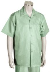 Mint Short Sleeve 2piece Casual Walking Suit