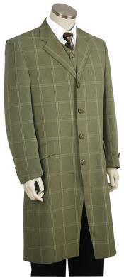 Stylish Tile Pattern Flap Pocket Green Zoot Suit