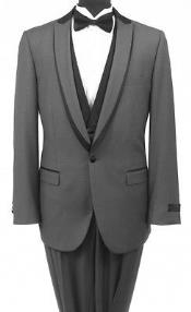 Bryan Michaels Gray and Black One Button Tuxedo with Flat Front Black Tuxedo Trousers