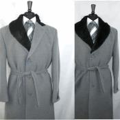 OverCoat Wool Blend Grey Color 3 Button Belt not included