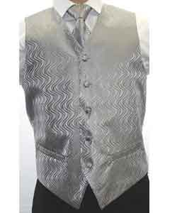 Mens Two-tone Grey 4-Piece Vest Set Also available in Big and Tall Sizes