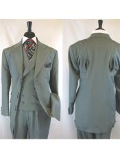 Landi 2917v Mens Grey 6 Paired Buttons Wide  Matching Vested Suit