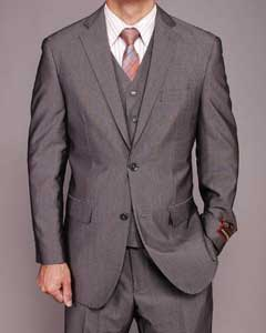 Grey Birdseye Three-piece Suit