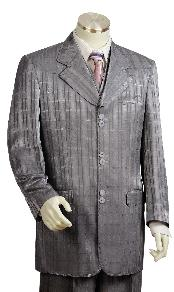 Mens 3 Piece Grey Unique Exclusive Fashion Suit